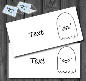Placement cards with ghosts with mustasch   | Free printable for Halloween