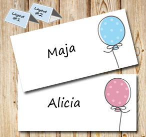 Placement card with dotted-balloons  | Free printable placement cards
