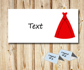 Placement card: Red gown with black lines  | Free printable placement cards