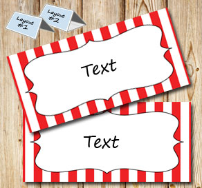 Red and white striped placement cards  | Free printable placement cards