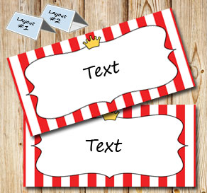 Red and white striped placement cards with crowns  | Free printable placement cards