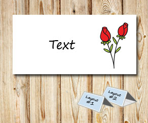 Placement card with red roses 3  | Free printable for Valentines day
