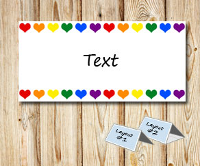 Placement cards with colorful hearts  | Free printable for Valentines day