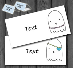 Placement cards with cute ghosts 1  | Free printable for Halloween