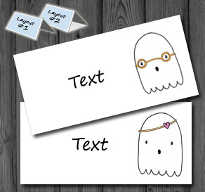 Placement cards with cute ghosts 2  | Free printable for Halloween
