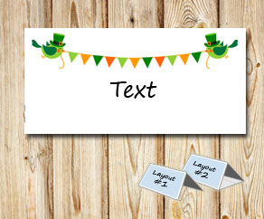 Placement cards with St Patricks day pennants  | Free printable for St Patricks day