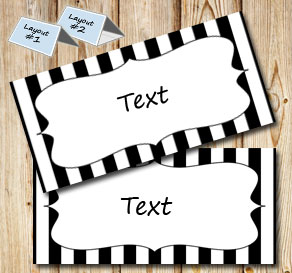 Black and white striped placement cards  | Free printable placement cards