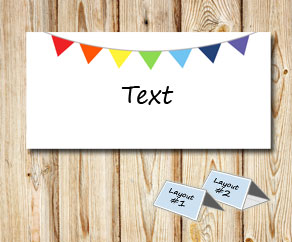 Placement card with colorful pennants  | Free printable placement cards
