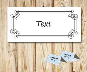 White placementcards with a black double frame  | Free printable for Christmas