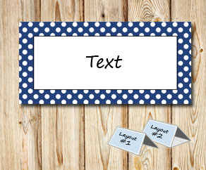 Placement cards with a white dotted dark blue frame  | Free printable placement cards