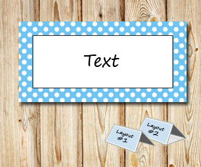 Placement cards with a white dotted light blue frame  | Free printable placement cards