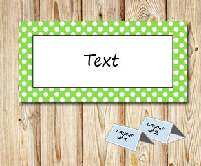 Placement cards with a white dotted light green frame  | Free printable placement cards