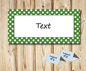 Placement cards with a white dotted green frame  | Free printable placement cards