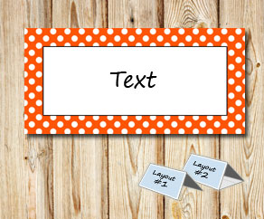 Placement cards with a white dotted orange frame  | Free printable placement cards