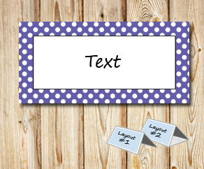 Placement cards with a white dotted purple frame  | Free printable placement cards