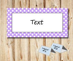 Placement cards with a white dotted light purple frame  | Free printable placement cards