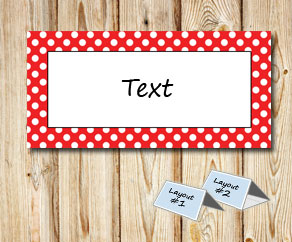 Placement cards with a white dotted red frame  | Free printable placement cards