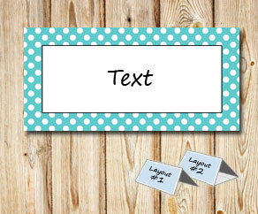 Placement cards with a white dotted turquoise frame  | Free printable placement cards