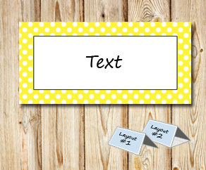 Placement cards with a white dotted yellow frame  | Free printable placement cards