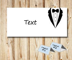 Placement card: White tuxedo  | Free printable placement cards