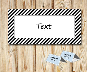 Placement cards with a striped black frame  | Free printable placement cards