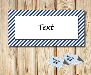 Placement cards with a white striped dark blue frame  | Free printable placement cards
