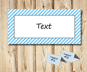 Placement cards with a white striped light blue frame  | Free printable placement cards