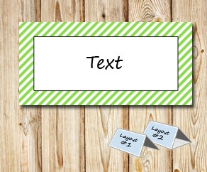 Placement cards with a white striped light green frame  | Free printable placement cards