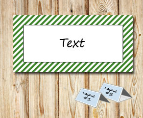 Placement cards with a white striped green frame  | Free printable placement cards