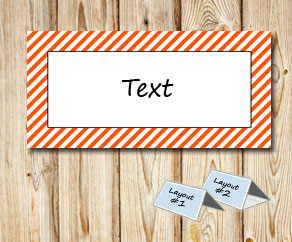 Placement cards with a white striped orange frame  | Free printable placement cards