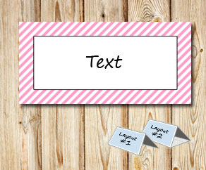 Placement cards with a white striped light pink frame  | Free printable placement cards