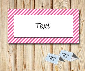 Placement cards with a white striped pink frame  | Free printable placement cards