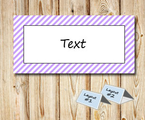 Placement cards with a white striped light purple f...  | Free printable placement cards