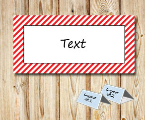 Placement cards with a white striped red frame  | Free printable placement cards