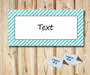 Placement cards with a white striped turquoise frame  | Free printable placement cards