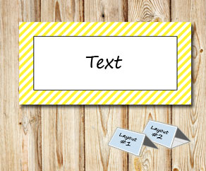 Placement cards with a white striped yellow frame  | Free printable placement cards