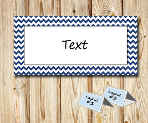Placement cards with a white zig zag dark blue frame  | Free printable placement cards