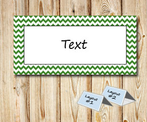 Placement cards with a white zig zag green frame  | Free printable placement cards