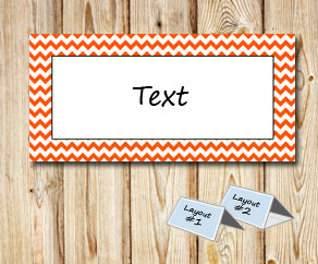 Placement cards with a white zig zag orange frame  | Free printable placement cards