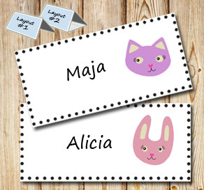 Placement card with cat and bunny  | Free printable placement cards