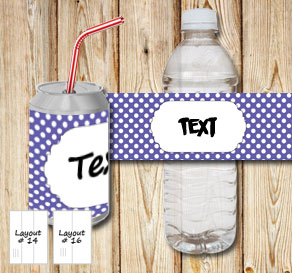 Purple bottle labels with white dots and a frame fo...  | Free printable bottle wrapper