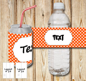 Orange bottle labels with white dots and a small fr...  | Free printable bottle wrapper