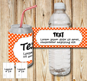 Orange bottle labels with white dots and a frame fo...  | Free printable bottle wrapper
