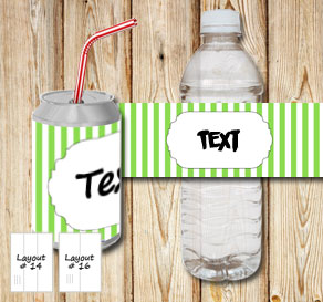 Green and white striped bottle labels with a small ...  | Free printable bottle wrapper