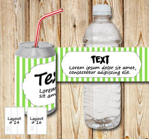 Green and white striped bottle labels with a frame ...  | Free printable bottle wrapper