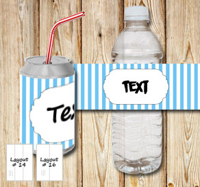 Light blue and white striped bottle labels with a s...  | Free printable bottle wrapper