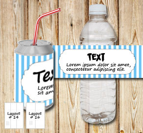 Light blue and white striped bottle labels with a f...  | Free printable bottle wrapper