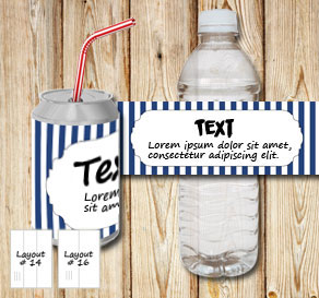 Dark blue and white striped bottle labels with a fr...  | Free printable bottle wrapper