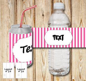 Pink and white striped bottle labels with a small f...  | Free printable bottle wrapper