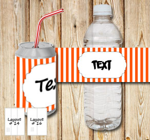 Orange and white striped bottle labels with a small...  | Free printable bottle wrapper